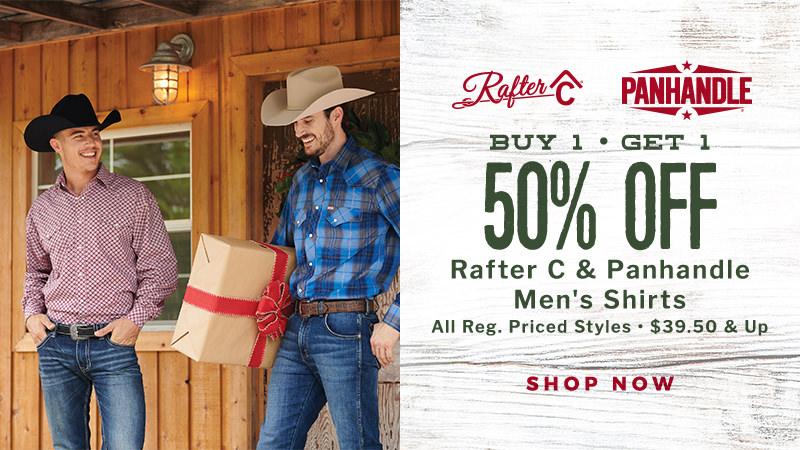 Rafter C & Panhandle Regular Priced Men's Shirts BOGO 50% Off, $39.50 and up!
