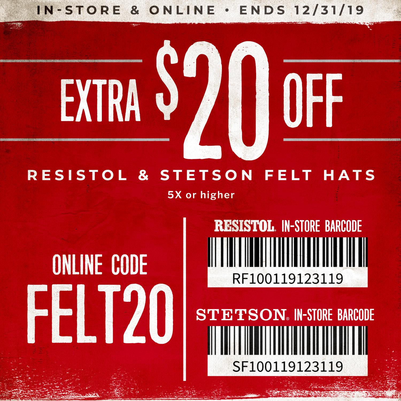 $20 Off Resistol & Stetson Felt Hats