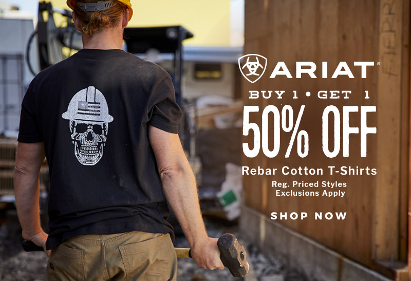 Shop In-store and Online Now for select styles of regular priced Ariat BOGO 50% Rebar Cotton Strong T-Shirts