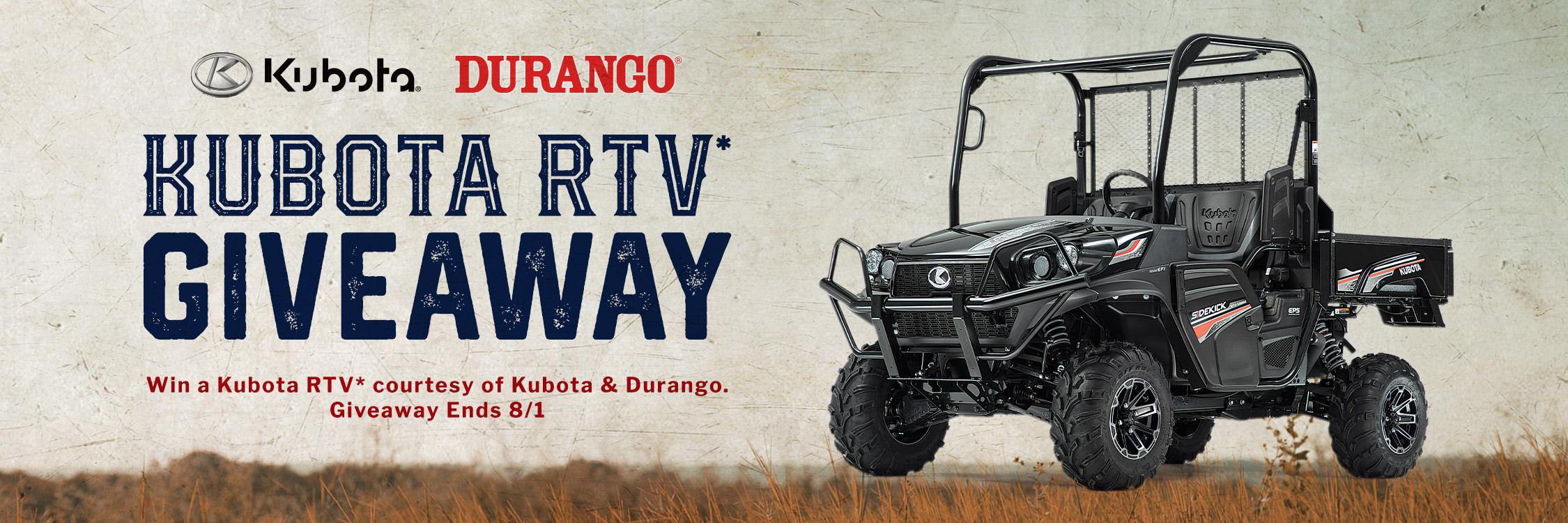 Kubota RTV Giveaway. Enter now through August 1, 2021!
