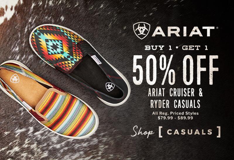 Ariat Buy 1 Get 1 50% Off Ariat Cruiser & Ryder Casuals