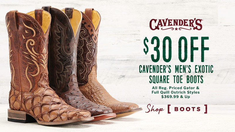 Cavender's Men's Exotic Square Toe Boots - $30 Off