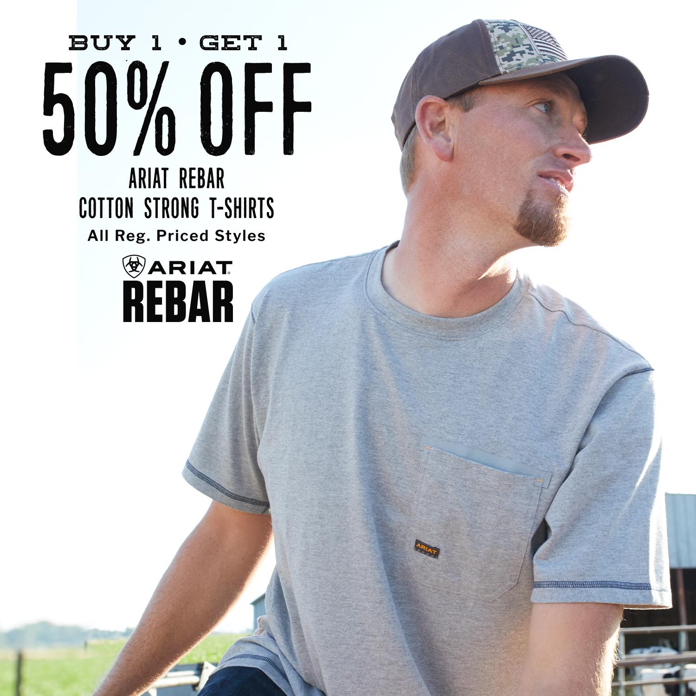 BOGO 50% Off Ariat Rebar Cotton Strong T-Shirts