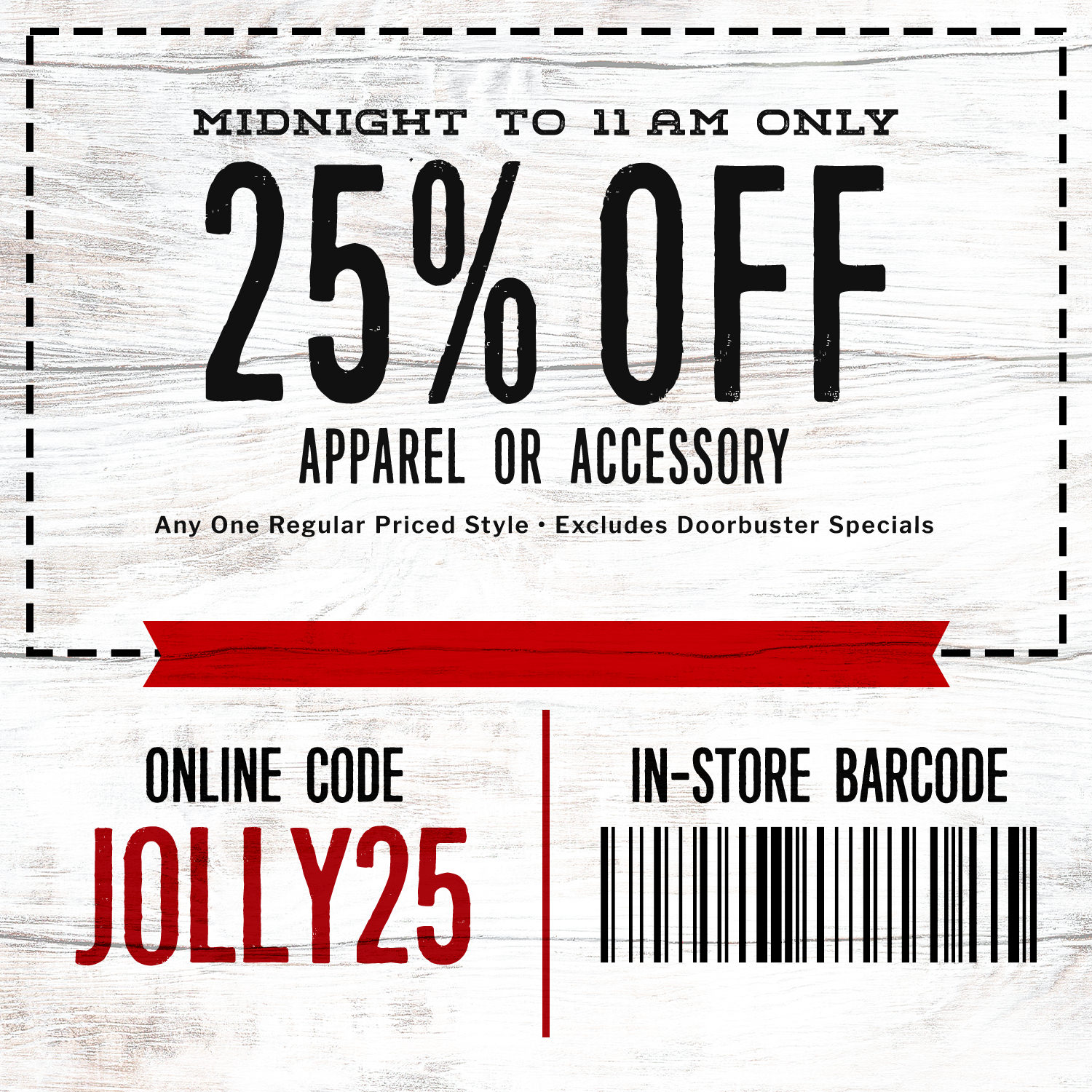 25% Off Apparel or Accessories