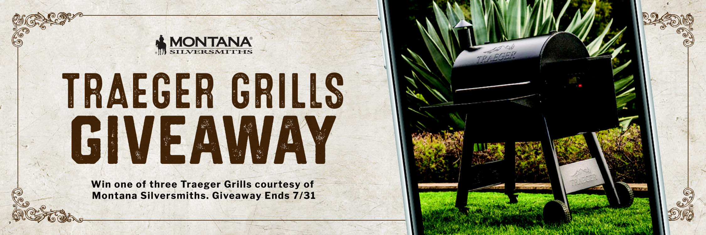 Traeger Grill Giveaway. Enter to win 1 of 3 Traeger Grills courtesy of Montana Silversmiths. Giveaway ends July 31, 2021!
