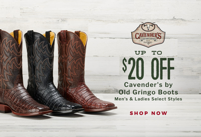 Up to $20 Off Cavender's by Old Gringo Men's and Ladies' Boot Styles!