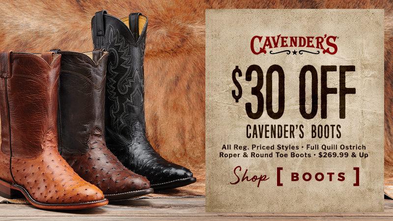 Cavender's Boots $30 Off